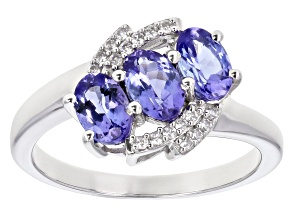 Blue Tanzanite Rhodium Over Silver Ring 1.16ctw