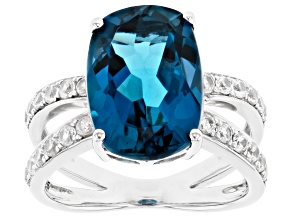 London Blue Topaz Rhodium Over Sterling Silver Ring 8.02ctw