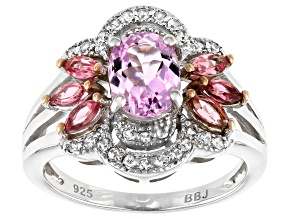 Pink kunzite rhodium over sterling silver ring 1.66ctw
