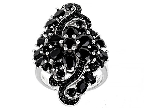 Black Spinel Rhodium Over Sterling Silver Ring 6.05ctw