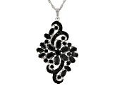 Black Spinel Rhodium Over Sterling Silver Pendant With Chain 8.00ctw