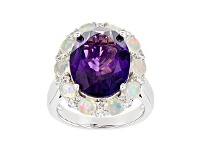 Purple Amethyst Rhodium Over Silver Ring 8.49ctw