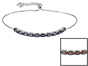 Blue Lab Created Color Change Alexandrite Rhodium Over Silver Sliding Adjustable Bracelet 4.73ctw