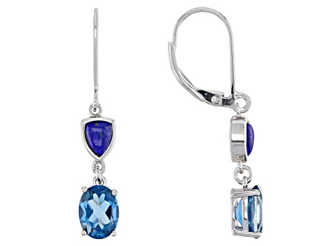 Blue Topaz Rhodium Over Silver Earrings 2.72ctw