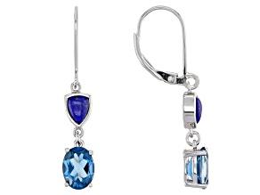 Blue Topaz Rhodium Over Silver Earrings 2.72ctw