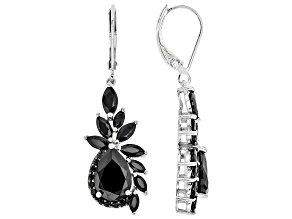 Black Spinel Rhodium Over Silver Earrings 6.91ctw
