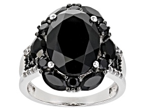 Black Spinel Rhodium Over Sterling Silver Ring 8.80ctw