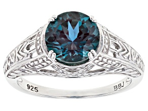Teal lab created alexandrite rhodium over sterling silver solitaire ring 1.96ct