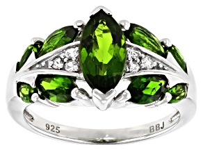 Green chrome diopside rhodium over silver ring 2.08ctw