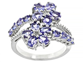 Blue Tanzanite Rhodium Over Silver Ring 2.04ctw
