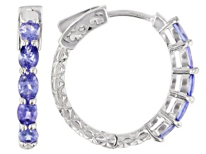 Blue tanzanite rhodium over sterling silver hoop earrings 1.45ctw