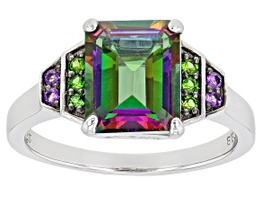 Mystic Fire(R) Green Topaz Rhodium Over Silver Ring 3.64ctw