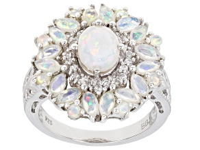 Multicolor Ethiopian Opal Rhodium Over Sterling Silver Ring 1.67ctw