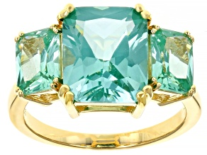 Green spinel 18k yellow gold over silver 3-stone ring 6.10ctw