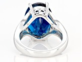 London Blue Topaz Rhodium Over Silver Ring 11.29ctw