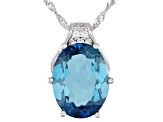 London Blue Topaz Rhodium Over Silver Pendant With Chain 11.07ctw