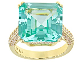 Green Lab Created Spinel 18k Gold Over Silver Ring 13.17ctw