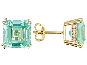Green Lab Created Spinel 18k Gold Over Silver Earrings 7.47ctw