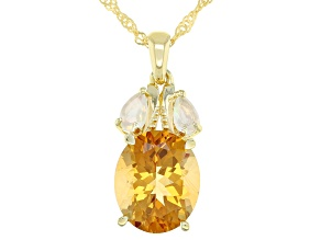 Golden Citrine 18k Gold Over Silver Pendant With Chain 4.20ctw