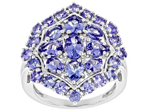 Blue Tanzanite Rhodium Over Silver Ring 3.00ctw