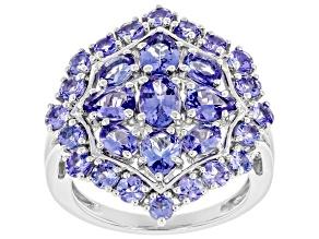 Blue Tanzanite Rhodium Over Silver Ring 3.00ctw