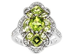 Green Peridot Rhodium Over Silver Ring 2.26ctw