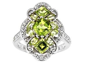 Green Peridot Rhodium Over Silver Ring 2.26ctw
