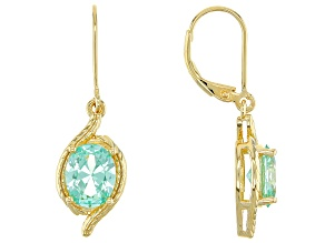 Lab created green spinel 18k yellow gold over silver dangle earrings 3.40ctw