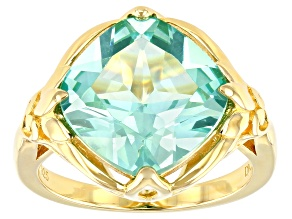 Green Lab Created Spinel 18k Yellow Gold Over Silver Solitaire Ring 7.06ct