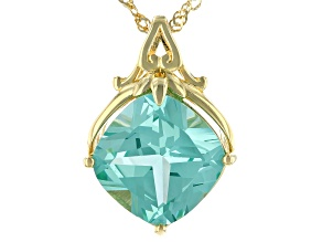 Green Lab Created Spinel 18k Yellow Gold Over Silver Pendant With Chain 7.06ct