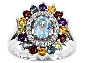 Blue Topaz Rhodium Over Silver Ring 2.16ctw
