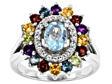 Blue Topaz Rhodium Over Silver Ring 2.16ctw