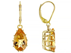 Yellow Citrine 18k Gold Over Sterling Silver Dangle Earrings 6.80ctw