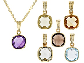 Sky Blue Topaz 18K Yellow Gold Over Sterling Silver Set Of 6 Pendants With Chain