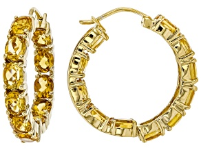 Golden Citrine 18k Gold Over Silver Hoop Earrings 6.55ctw