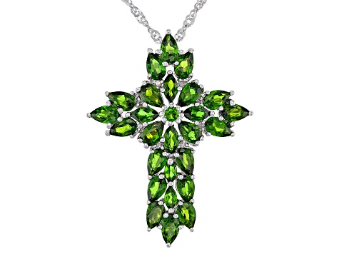 Green Chrome Diopside Rhodium Over Silver Pendant With Chain 5.04ctw