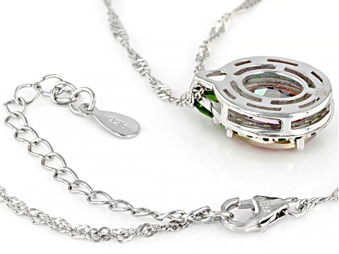 Northern Lights™ quartz rhodium over silver pendant with chain 3.56ctw
