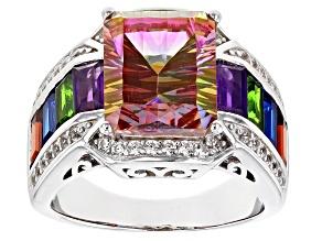 Northern Lights™ quartz rhodium over silver ring 6.11ctw
