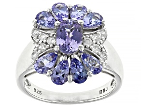 Blue Tanzanite Rhodium Over Sterling Silver Ring