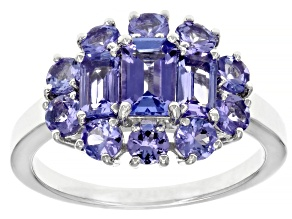 Blue Tanzanite Rhodium Over Sterling Silver Ring 1.99ctw