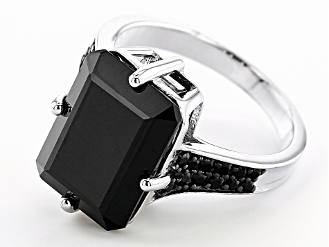 Black Spinel Rhodium Over Silver Ring 8.45ctw