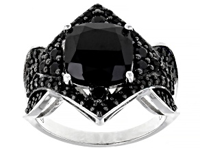 Black Spinel Rhodium Over Silver Ring 4.69ctw