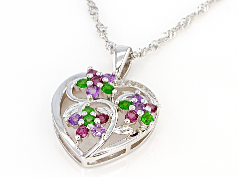 Multi-color Gemstone Rhodium Over Silver Pendant With Chain .62ctw