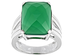 Green Onyx Rhodium Over Sterling Silver Ring