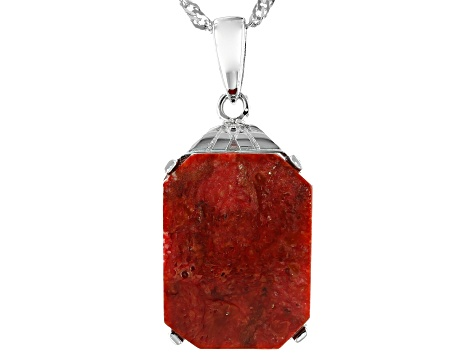 Red Sponge Coral Rhodium Over Sterling Silver Pendant With Chain