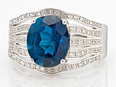 Blue Topaz Rhodium Over Silver Ring 3.94ctw