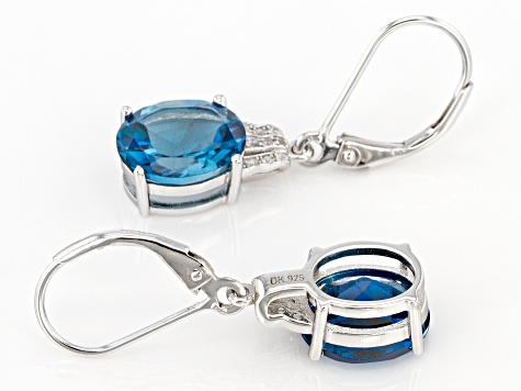 Blue Topaz Rhodium Over Silver Earrings 5.61ctw