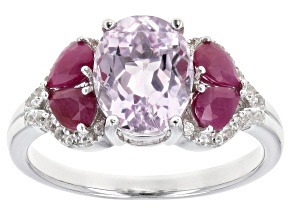 Pink Kunzite Rhodium Over Silver Ring 2.86ctw