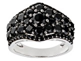 Black Spinel Rhodium Over Silver Ring 3.52ctw