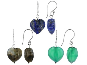 Gray Labradorite Rhodium Over Silver Earrings Set of 3